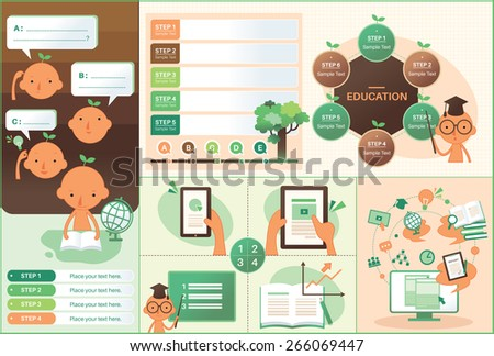Set of education icons and character illustration. Education  - stock vector