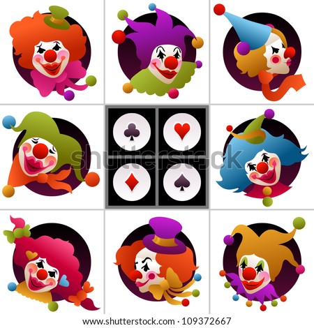 set of eight clown portraits wearing funny hats and accessories - stock vector