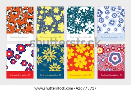 Set of eight colorful floral seamless pattern  - stock vector