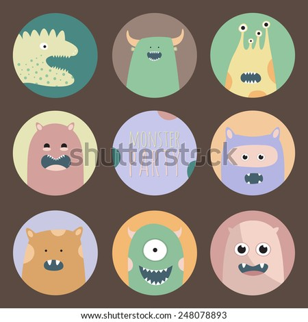 Set of eight crazy monsters. Colorful comic creatures. Cute icon set. - stock vector