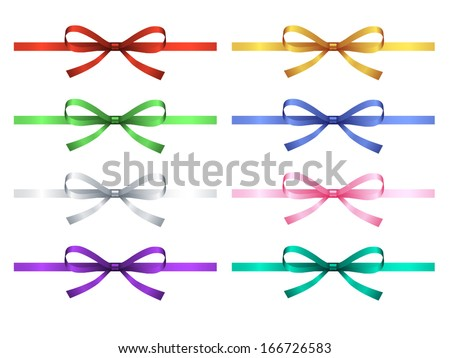 set of eight gift bow with ribbon, vector - stock vector