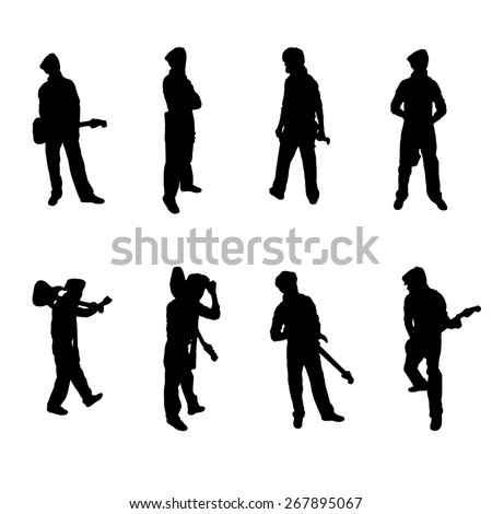 Set of eight Guitar Player silhouettes Vector Image - stock vector