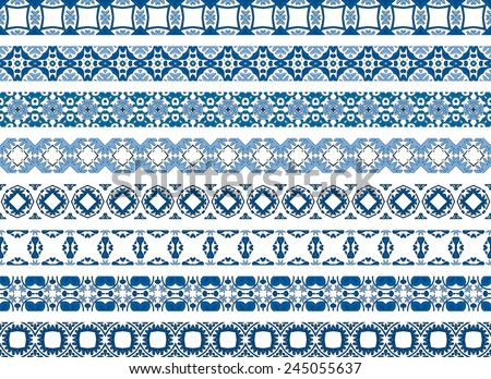 Set of eight illustrated decorative borders made of Portuguese tiles - stock vector