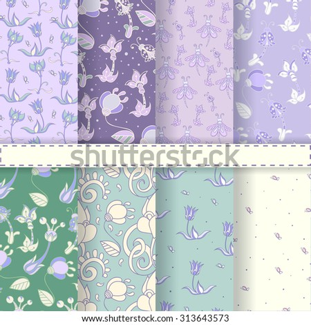 Set of eight seamless floral patterns, lavender wallpapers, backgrounds, girlish swatches. - stock vector