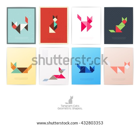 Set of eight tangram cats. geometric shapes, Vector illustration - stock vector