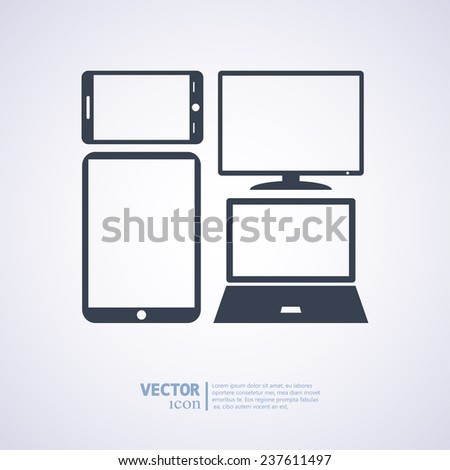 Set of electronic devices icon, vector illustration. Flat design style - stock vector