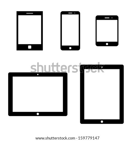 set of electronic devices with white blank screens. smartphones, tablets. vector eps8 - stock vector