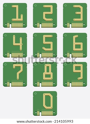 Set of Electronic Number, Circuit Alphabet, Digital Icon, Vector  - stock vector
