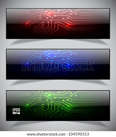 Set of electronics web banners. Vector illustration eps10 - stock vector