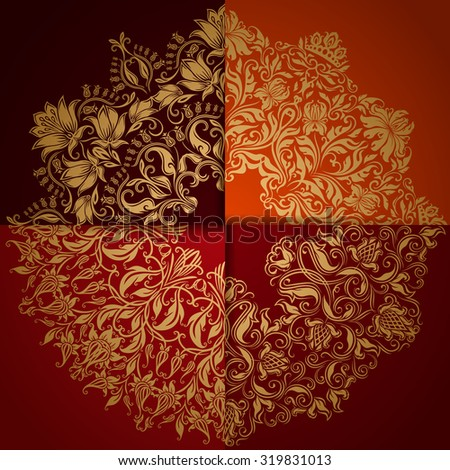 Set of elegant backgrounds with circle lace ornament. Floral elements, ornate pattern for luxury invitation, gift card, menu, page, web design. Ornaments on separate layers, vector illustration EPS10. - stock vector