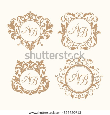 Set of elegant floral monogram design templates for one or two letters . Wedding monogram. Calligraphic elegant ornament. Monogram identity for restaurant, hotel, heraldic, jewelry. - stock vector
