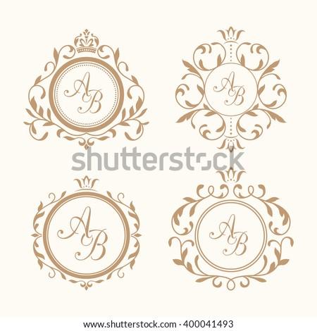 Set of elegant floral monograms - stock vector