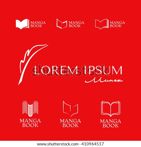 Set of Elegant logos with book and fountain pen symbol. - stock vector