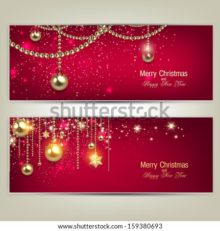 Set of Elegant Red Christmas banners with golden baubles and stars. Vector illustration - stock vector
