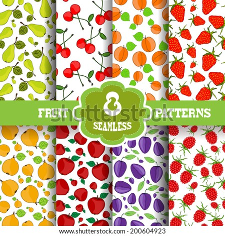 Set of 8 elegant seamless patterns with decorative fruits, design elements. Fruit patterns for invitations, greeting cards, scrapbooking, print, gift wrap, manufacturing. Food backgrounds - stock vector