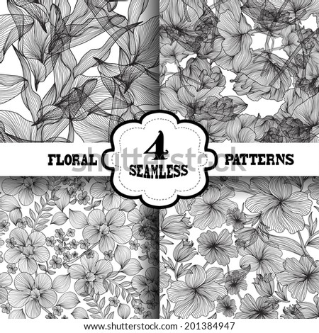 Set of 4 elegant seamless patterns with hand drawn decorative flowers, design elements. Floral patterns for wedding invitations, greeting cards, scrapbooking, print, gift wrap, manufacturing. - stock vector