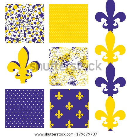 set of 6 elegant seamless patterns with lily flower symbols, dots, curls and abstract flowers, design elements - stock vector