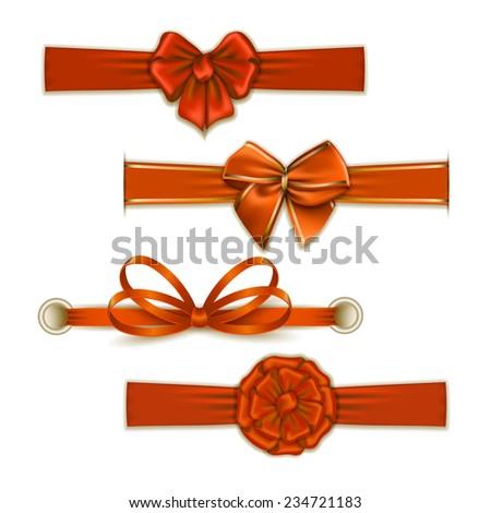 Set of elegant silk color bows, ribbons for design. Vector illustration EPS10.  - stock vector