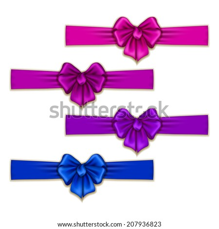 Set of elegant silk colored bows for design. Vector illustration EPS10. - stock vector