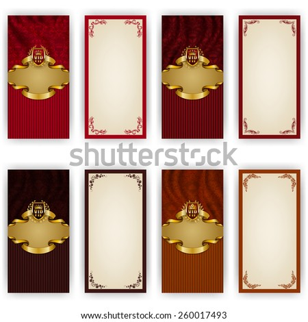 Set of elegant templates for luxury invitation, gift, greeting card with lace ornament, crown, laurel wreath, drapery fabric, place for text. Floral elements, ornate background. Illustration EPS 10. - stock vector