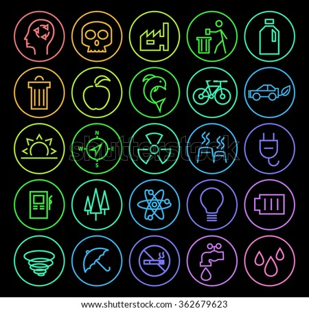 Set of Elegant Universal Minimal Thin Line Colored Neon Stroke Ecology Icons with Color Gradient on Circular Buttons on Black Background. - stock vector