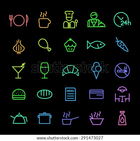 Set of Elegant Universal Minimal Thin Line Colored Neon Stroke Restaurant Icons with Color Gradient on Black Background. - stock vector