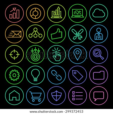 Set of Elegant Universal Minimal Thin Line Colored Neon Stroke SEO and Development Icons with Color Gradient on Circular Buttons on Black Background. - stock vector