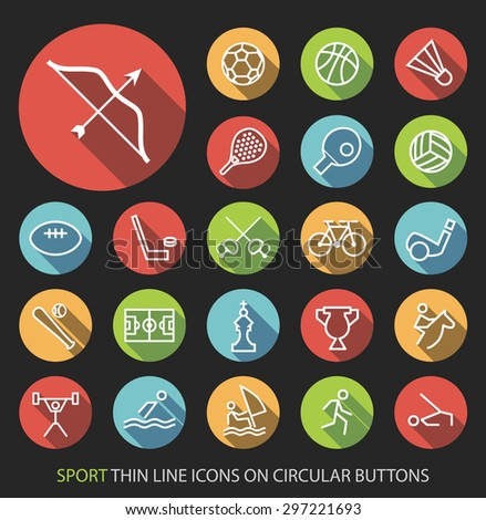 Set of Elegant Universal White Sport Minimalistic Simple Isolated Thin Line Icons on Circular Colored Buttons on Black Background. - stock vector