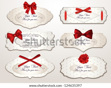 Set of elegant vintage cards with red bows - stock vector