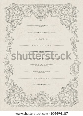 Set of elements for abstract certificate design, vector eps10 - stock vector