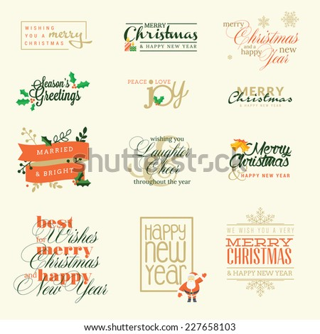 Set of elements for Christmas and New Year greeting cards, badges and stickers     - stock vector