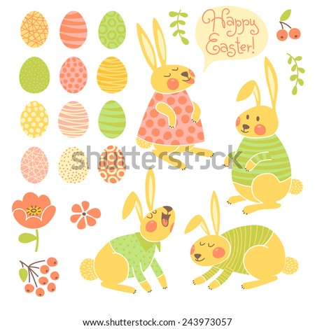 Set of elements for design Happy Easter. Vector illustration. - stock vector