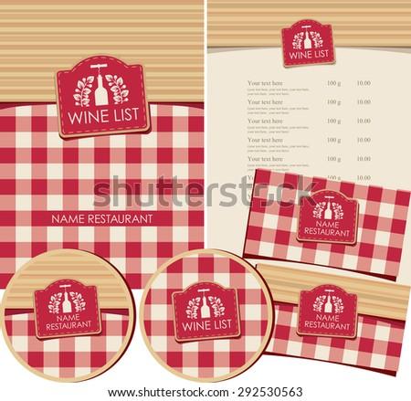 set of elements for design wine list restaurant or shop - stock vector