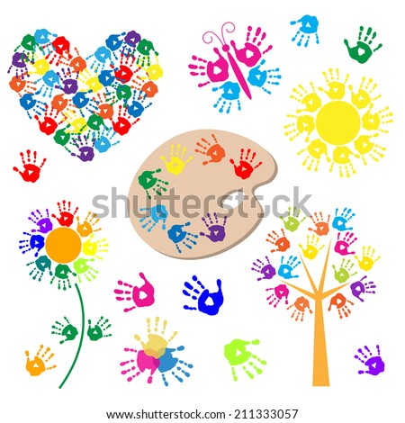 Set of elements for design with a handprints - stock vector
