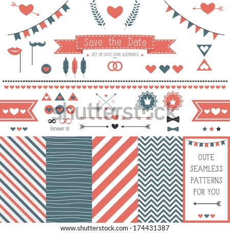 Set of elements for wedding design. save the date. The kit includes ribbons, bows, hearts, arrows and striped vector patterns - stock vector