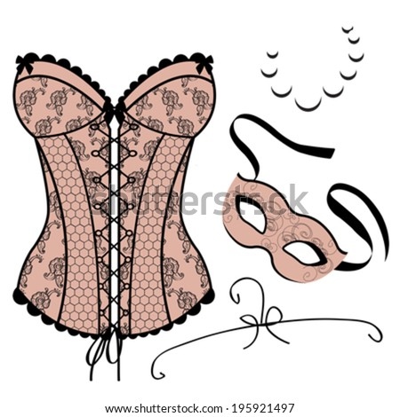 Set of elements for women - Carnival Mask, Corset,  Necklace - stock vector