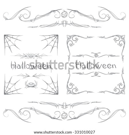 set of elements of the ornament to decorate the pages or frames on a Halloween theme - stock vector