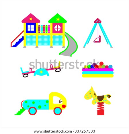 Set of elements on child development. Elements for the creation of a children playground for recreation and entertainment. - stock vector