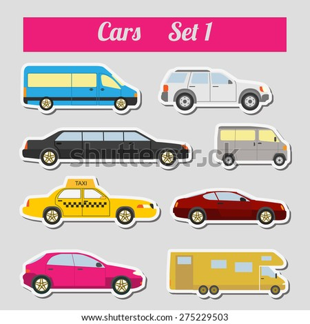Set of elements passenger cars for creating your own infographics or maps. Vector illustration - stock vector