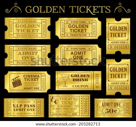 Set of eleven golden vector tickets and coupons templates. Vector file is organized in layers to separate Graphic elements from texture and text. - stock vector