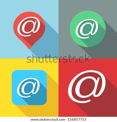 Set of Email / At sign / Arroba symbol flat icon long shadow - stock vector