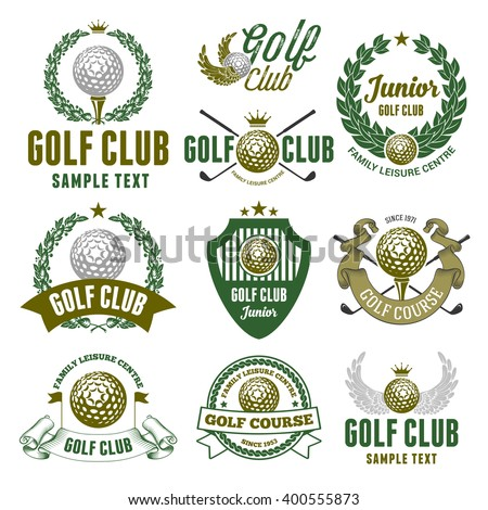 Set of Emblems, Logos and Labels on Golf Theme and for Golf Club. Colored Vector Illustration. Isolated on White Background. - stock vector