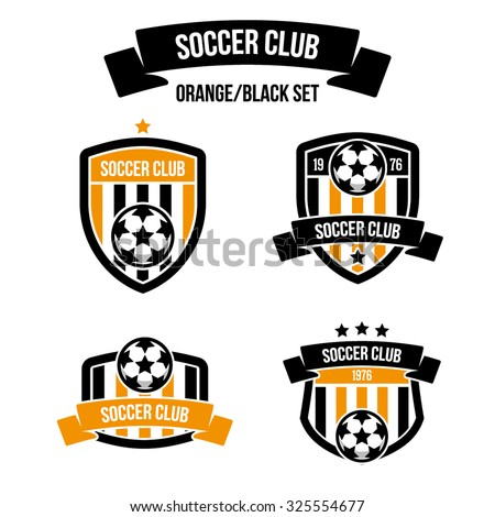 Set of emblems orange/black color for football clubs with the inscription on the ribbon. Soccer ball - stock vector