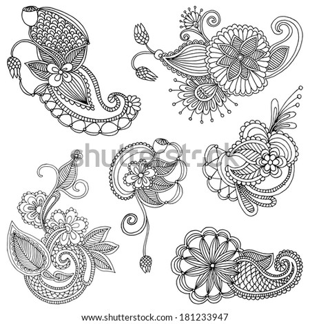 Set of embroidery patterns - stock vector