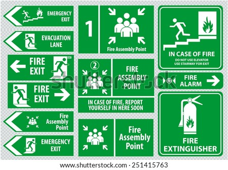 Set of emergency exit Sign (fire exit, emergency exit, fire assembly point, evacuation lane). - stock vector