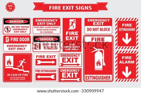 Set of emergency exit Sign (fire exit, emergency exit, fire extinguisher, fire door). - stock vector