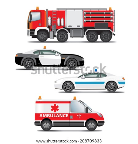 Set of emergency transport icons.  Fire truck, ambulance, police car. Vector illustration - stock vector