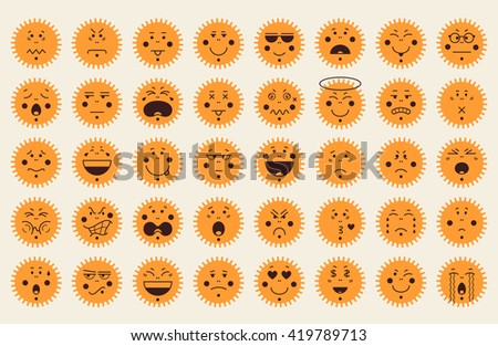 Set of 40 emoticon icons in sun shape. Emoji concept isolated on white background. Flat design. Vector illustration. - stock vector