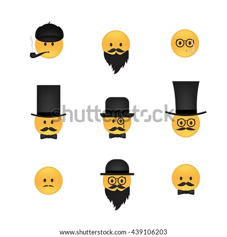 Set of  emoticon vector isolated on white background. Emoji vector. Smile icon set. Emoticon icon web. - stock vector