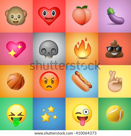 Set of emoticons, emoji, colorful background - stock vector